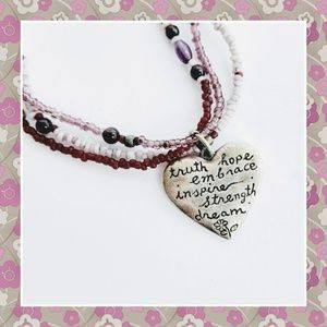 Jewelry - Beaded Necklace with Silver Heart Charm
